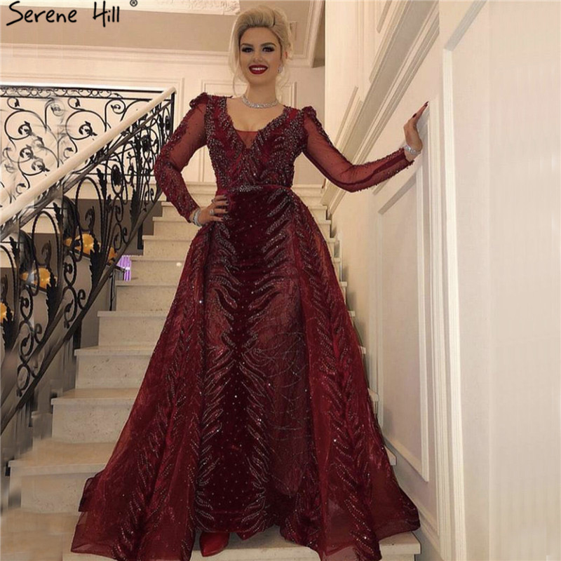 Dubai Luxury Design Wine Red Evening Dresses 2019 V-Neck Long Sleeve Beading Sequined Evening Gowns Serene Hill LA60903(China)