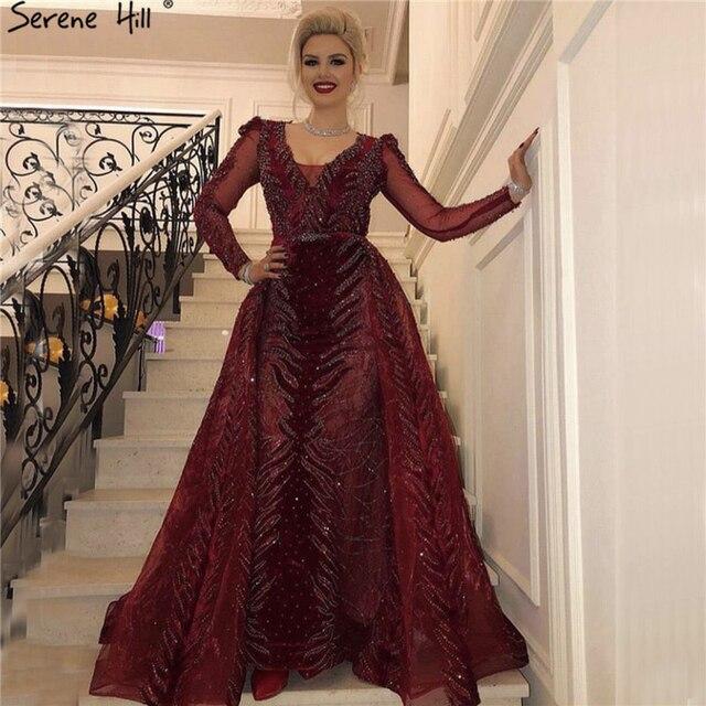 Dubai Luxury Design Wine Red Evening Dresses 2019 V Neck Long Sleeve Beading Sequined Evening Gowns