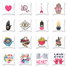 Eye of Fatima Printed Pattern Cushion Covers Pink Hand Snake Pineapple Skull Flowers Red Heart Throw Pillows Case for Couch Sofa