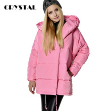 European Fashion 2016 Winter Women Down Jacket Medium Long Loose Fit Casual Cute Hooded Parka Coat Thick Snow wear Hot sale
