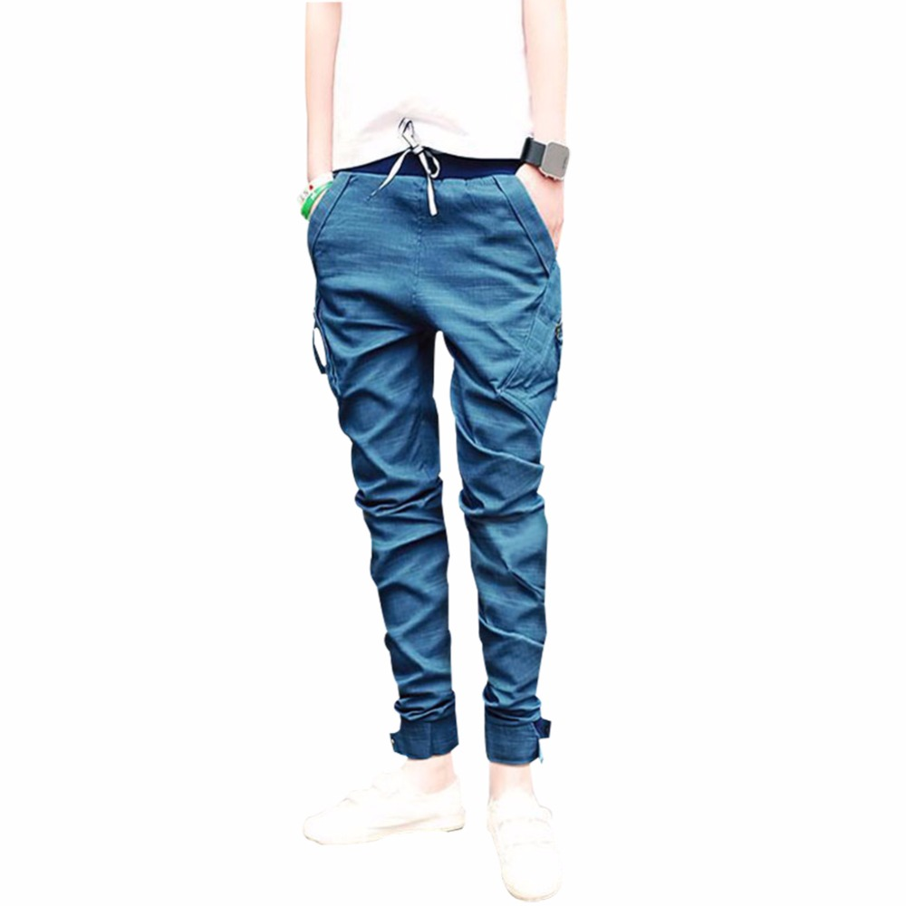 Top Selling Men Long Pants Casual Low Waist Lace Up Narrow Feet Polyester Long Pants For Men-in ...