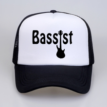 New Style Bassist Guitar hat Funny music band bass guitarist rock Baseball caps cool Summer Mesh Trucker Cap Unisex snapback hat judas priest heavy metal band mesh cap summer fashion men women rock baseball caps rock music fans trucker hat letter casual hat