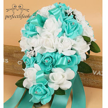 perfectlifeoh Artificial Water droplets Bridal Bouquets Crystal Bridal Wedding Bouquets wedding bride flower  Shaped Turquoise