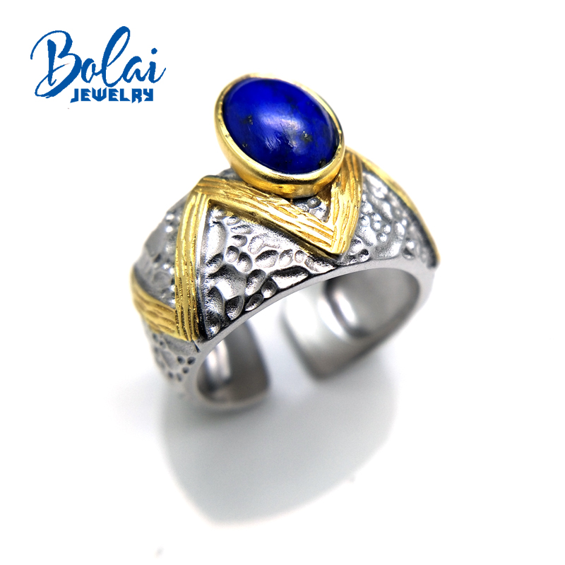 bolaijewelry,Big gemstone Afghan Lapis men's Ring in 925 sterling silver fine jewelry for anniversary birthday party best gift. цены