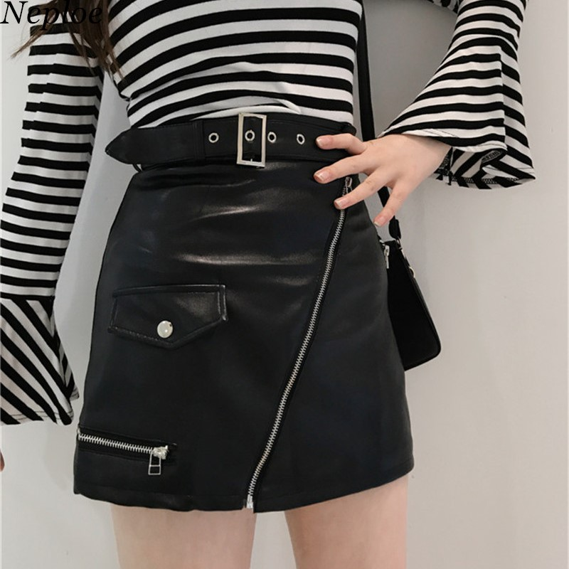 b95b056d6 Neploe Autumn Winter New High Waist Women Skirt Zippers Sashes PU Mini  Skirts 2019 Fashion A