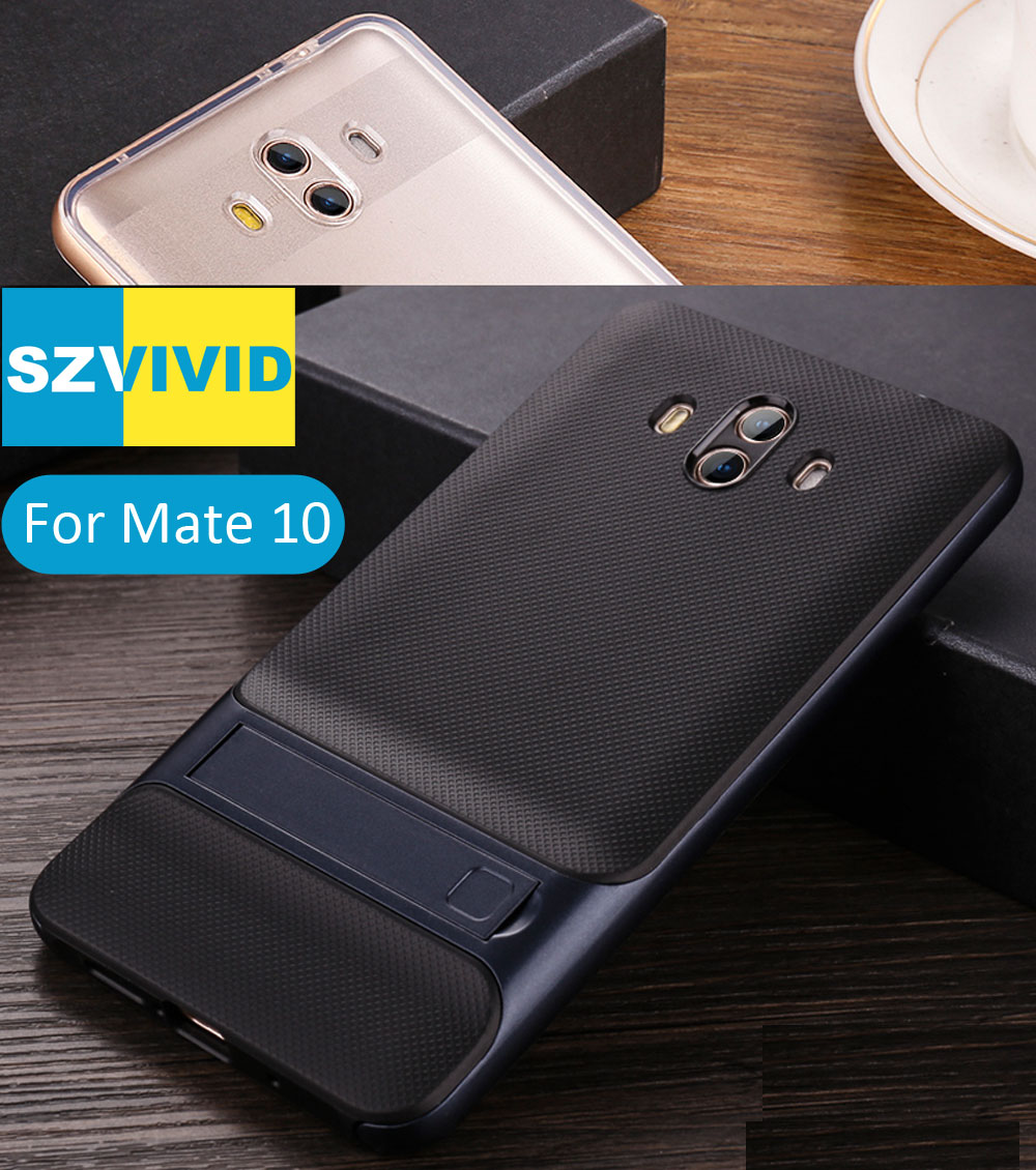 Stand Holder Kickstand Case for Huawei Mate 10 Hybrid Slim Armor Protector Clear Transparent Cover Mate10