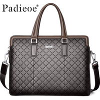 Padieoe Men's Leather Bag 14 Inch Laptop Handbag Brand Luxury Genuine Leather Briefcase for Documents Cow Skin Messenger Bags