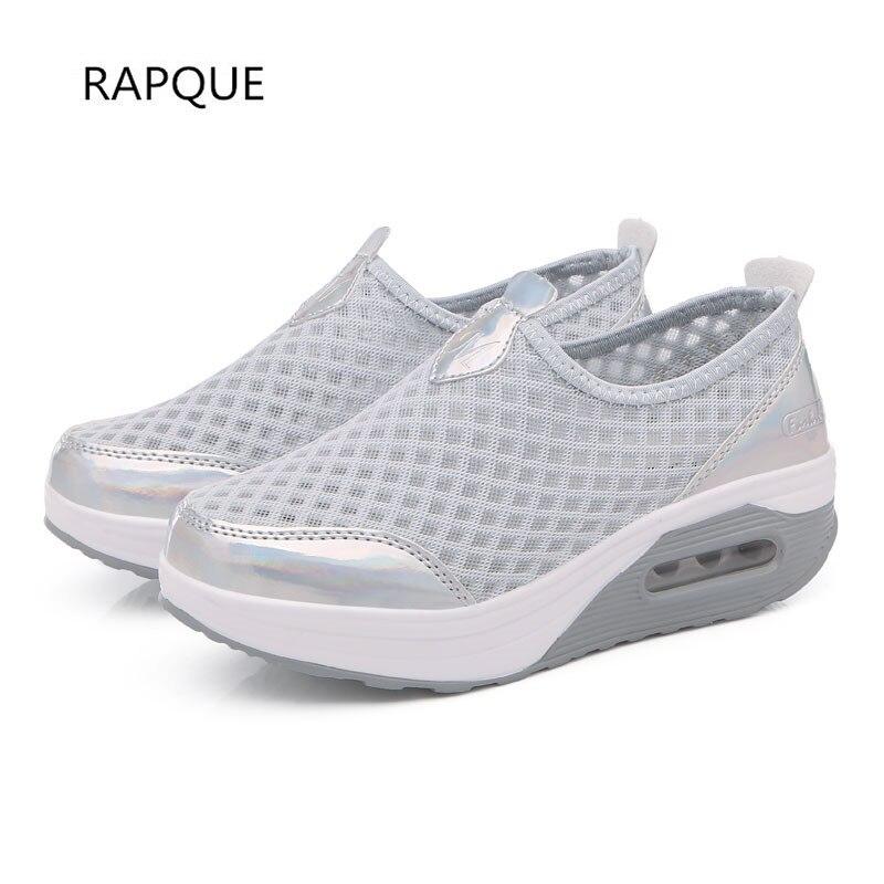 Women Shake Shoes Cushion Wedge Pumps Spring Height Increasing Sneakers Air Mesh Female Footwear Shoes Ladies Walking Trainer