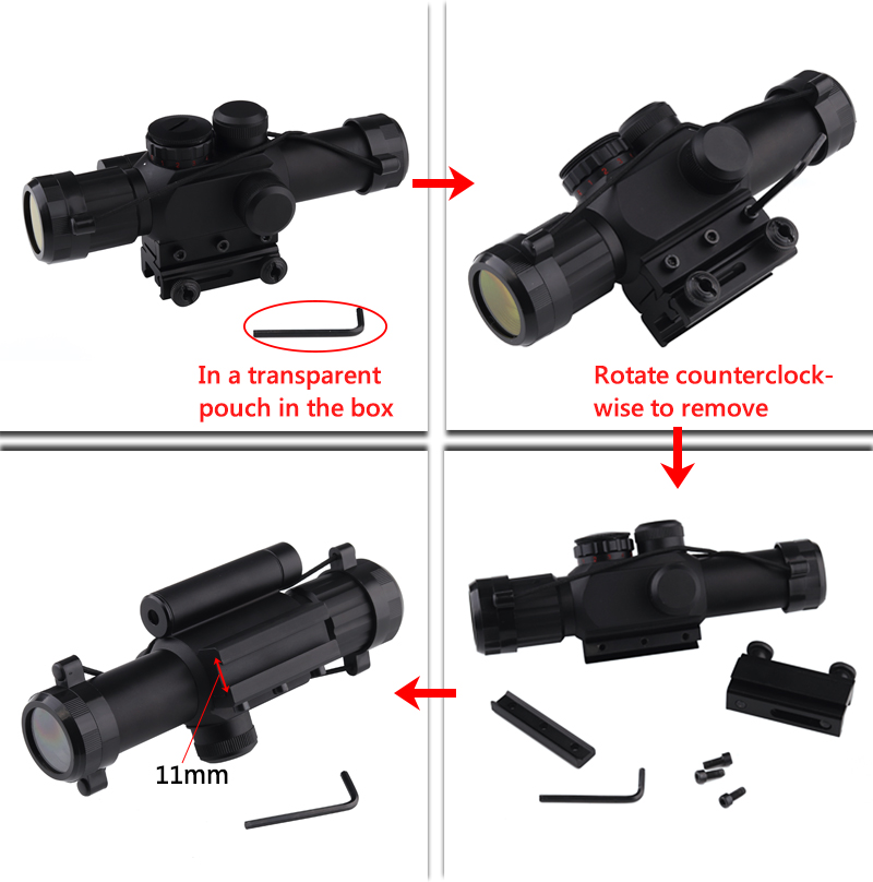 Ledarnell M6 11mm 20mm Dovetail Tactical Scope 4x25 Rifle Sights With Red Laser Sight 24 Mil Dot Riflescope For Hunting Air Gun