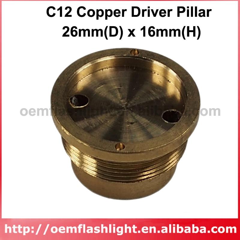 DIY 26mm(D) X 16mm(H) Copper Driver Pillar Set For C12 LED Flashlights