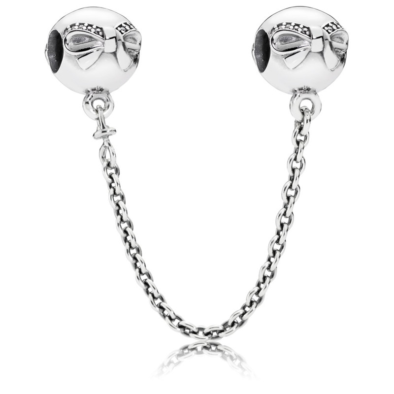 Authentic Dainty Bow Safety Chain Charm CZ 100 925 Sterling Silver Charms DIY Jewelry Wholesale Fits