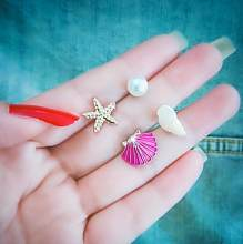 4 PCS/Set Pearl Starfish Real Shell Stud Earrings for Women Colorful Shells Boho Summer Beach Boucle D'oreille Jewelry Brincos(China)