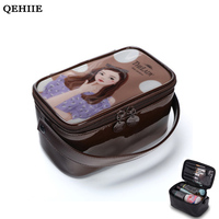 2017 Women Cosmetic Bag Korean Cartoon Girl Pvc Mirror Waterproof Wash Bag Organizer Travel Cosmetic Storage