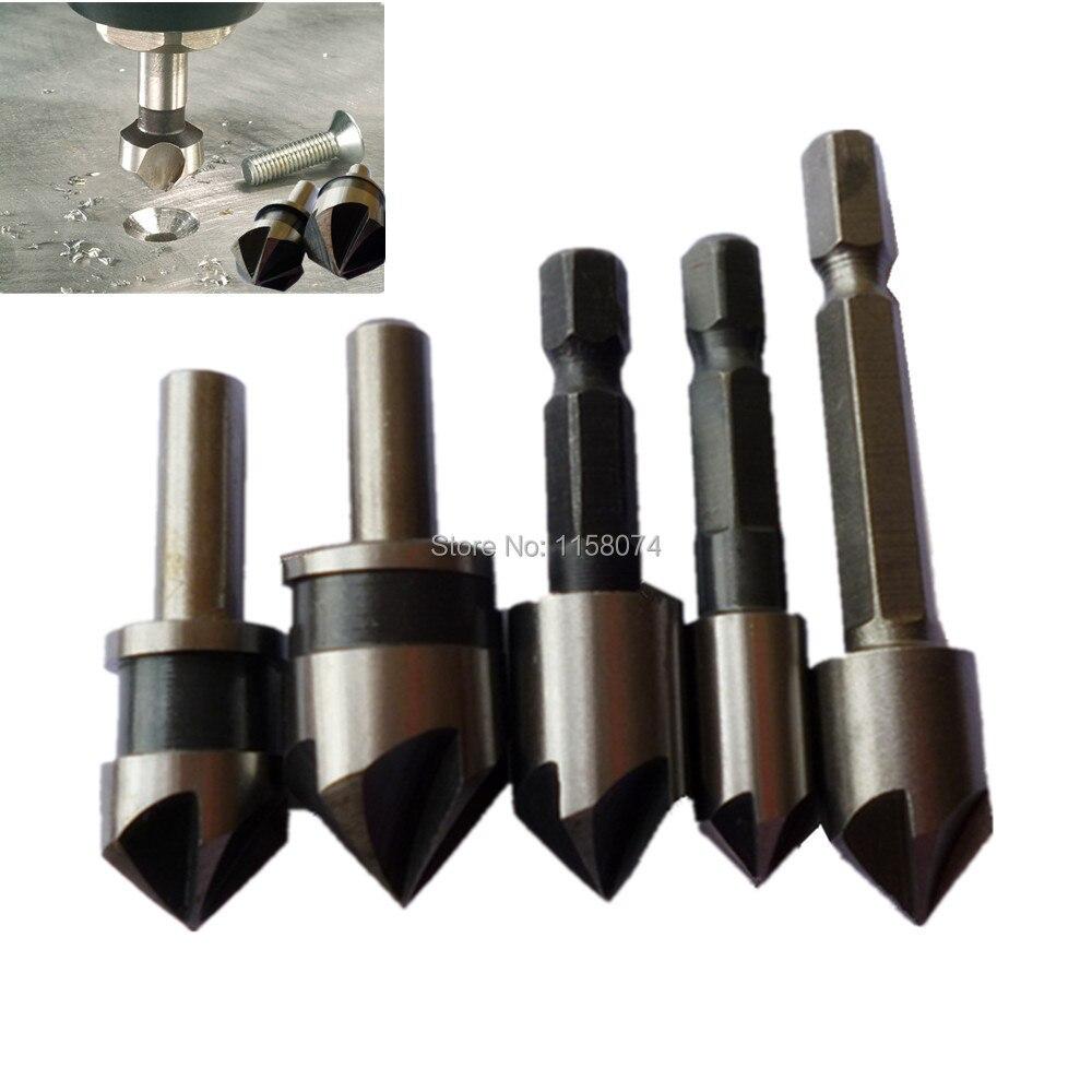 countersink drill bit. 5pcs hss 5 flute countersink drill bit 82 90 degree point angle chamfer chamfering countersinking cutter 1/4\