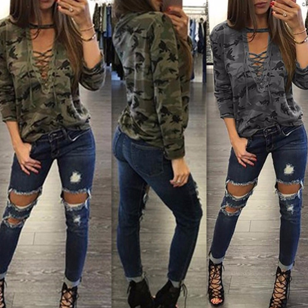 Special design 2016 popular full sleeve camouflage tee v-neck sexy t-shirt novelty casual print tee S3107