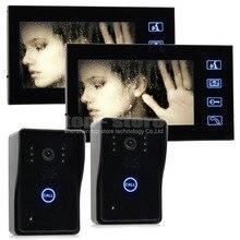 """DIYSECUR Calidad 7 """"Color LCD de la Puerta Del Timbre Del Teléfono de Intercomunicación Key Touch 2 IR Cámaras 2 Monitores SY806MJ22"""