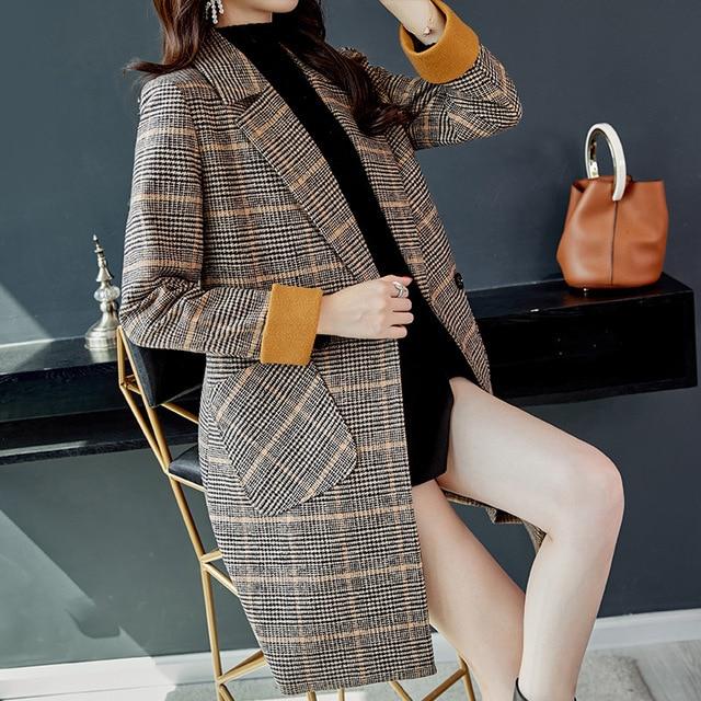 2019 Autumn Winter Wool Women Plaid Pockets Blends Office Work Long Coats Fashion Brand Lady Slim Lapel Long Sleeve Blends Sexy 4