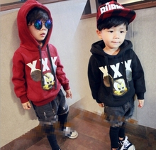 2016 autumn new fashions of boys leisure printing hooded sweater