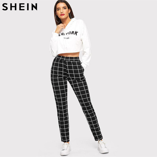 SHEIN Black Plaid Mid Waist Skinny Carrot Trousers Autumn Women Casual Slim Fit Vertical Women Pencil Streetwear Pants 3