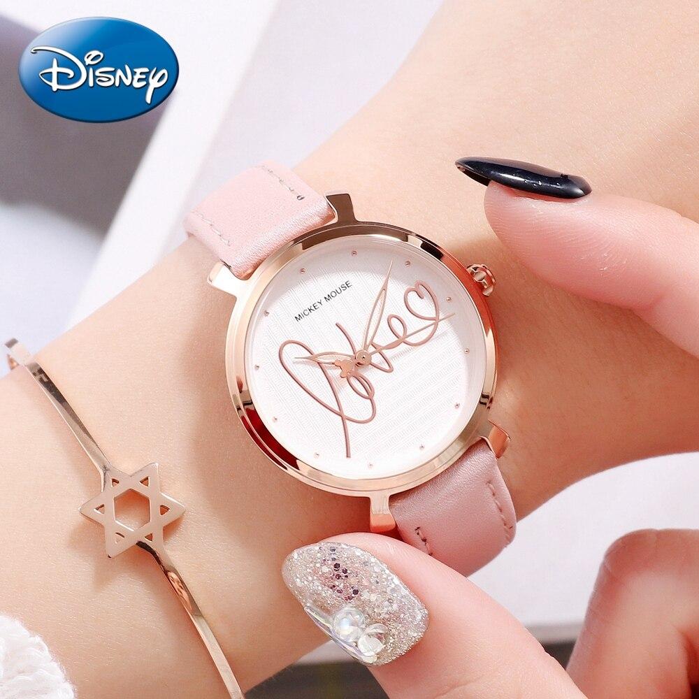 Amour Mickey Mouse dame cuir à la mode étanche montres femmes boucle analogique Quartz filles luxe Top Disney montre cadeau horloges