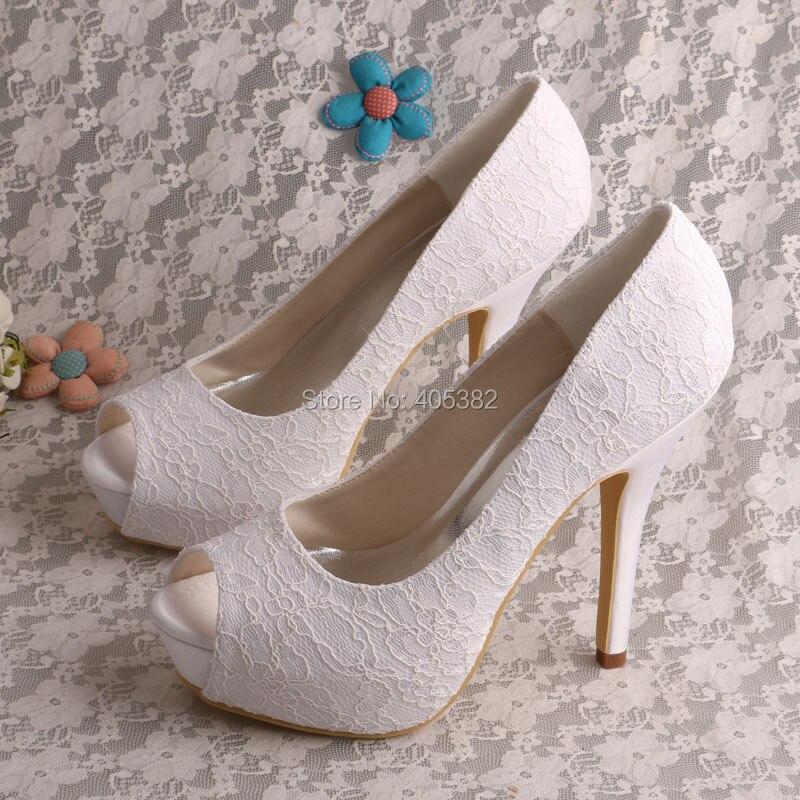 ФОТО Wedopus Women Open Toe Platform Bridal Shoes Wedding Lace White