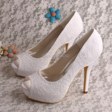 Wedopus Women Open Toe Platform Bridal Shoes Wedding Lace White