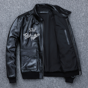 Image 4 - MAPLESTEED Bomber Flight Jacket Men 100% Natural Calf Skin Jacket Soft Air Force Pilot Leather Jackets Mens Coat Autumn M194