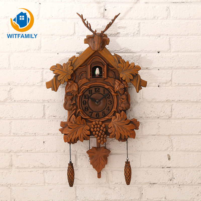 Hanging Cuckoo Clock Antique Handcraft Pendulum Clock for Living Room Office Home Decoration 20inch Vintage Bird Wall Clock