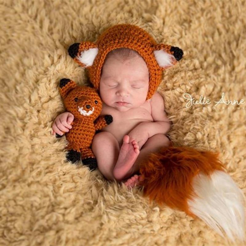 Newborn Infant Baby Photography Props Hat /& Pants Costume Hand Crochet Fox Baby