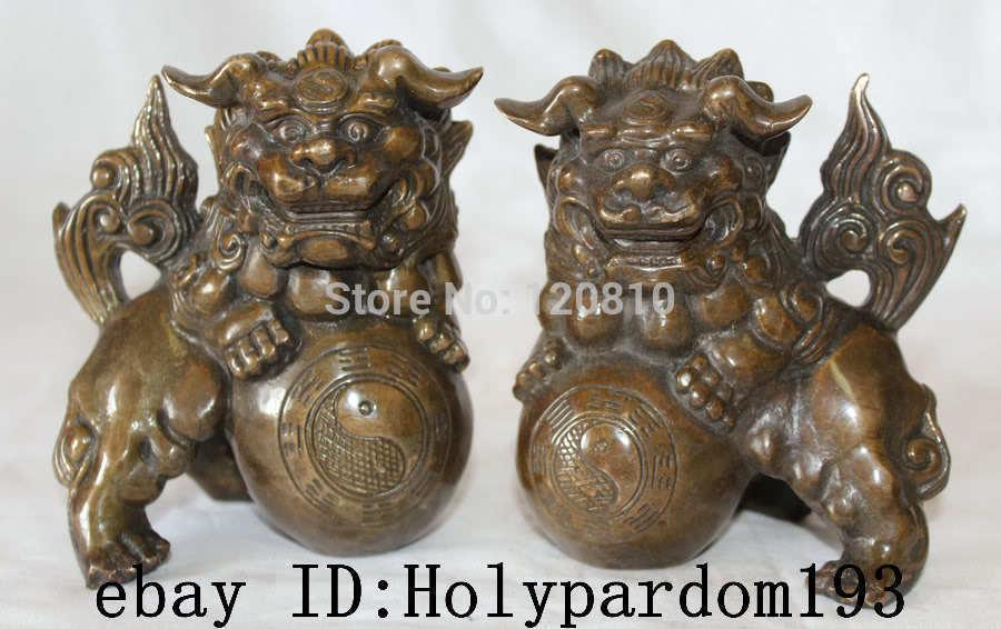 "6/"" China Chinese Folk Home Copper Fu Foo Dog Lion Head Door knocker Statue 15cm"