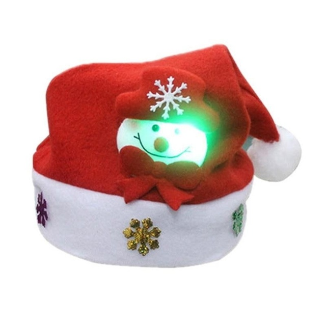f753ce6e2631d Christmas Hat LED Light Cartoon Santa Claus Elk Snowman Xmas Cap for Adult  Kids
