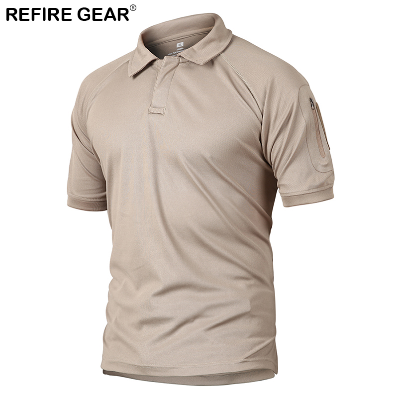 Refire Gear Outdoors Summer Short Sleeve T-Shirt Tactical Camping ArmPocket Shirt Men Hunting Hiking Quick Dry Breathable Shirts