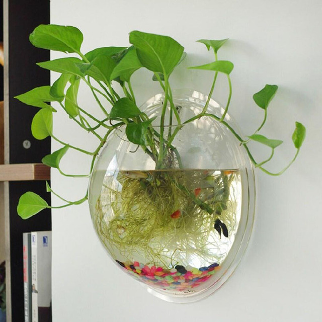 Eworld Acrylic Fish Bowl Wall Hanging Aquarium Fish Tank Aquatic Pet Supplies Pet Products Wall Mount Plant Pot For Home Decor