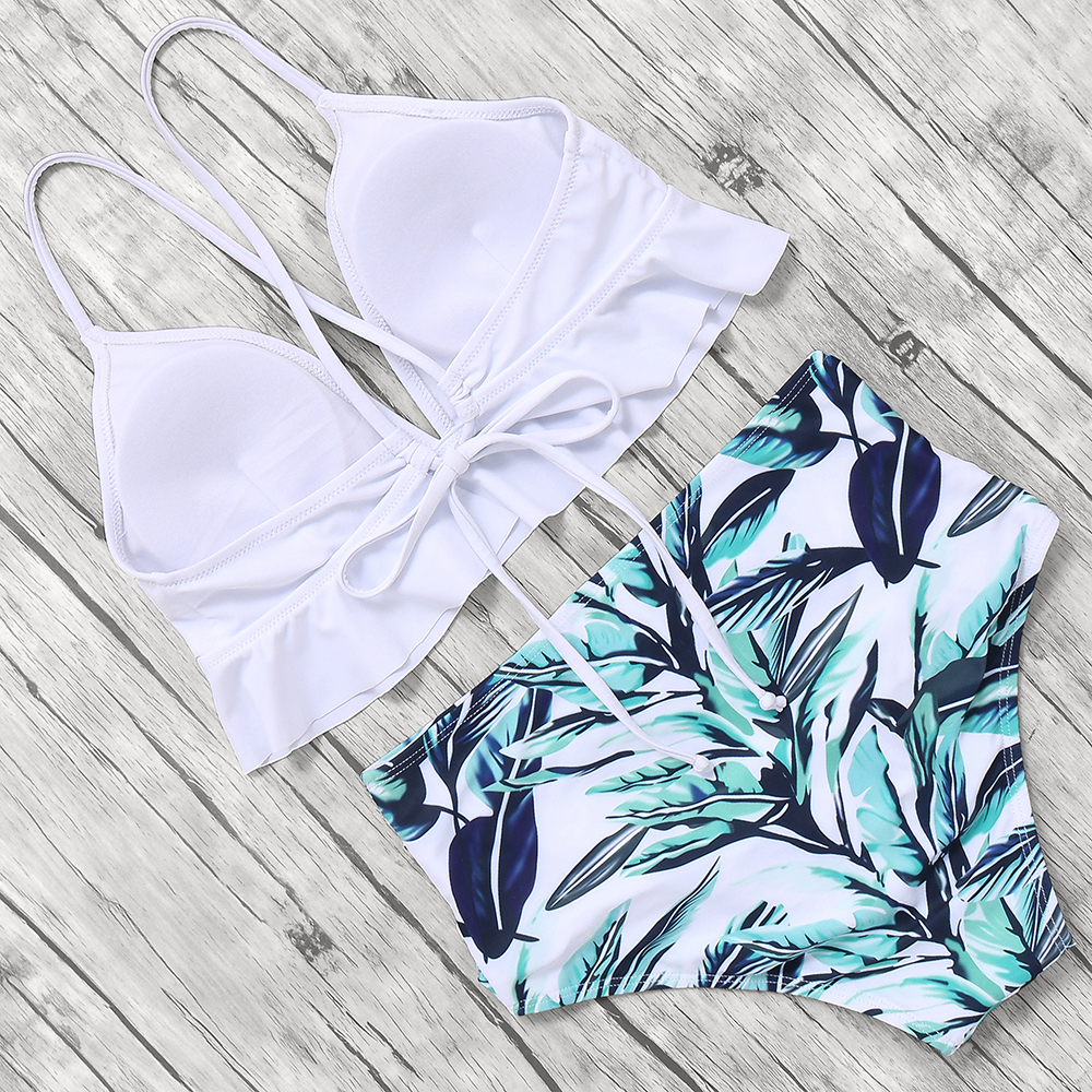 HTB1aJehKrPpK1RjSZFFq6y5PpXaF Print Sexy Bikini 2019 Mujer Plus Size Swimwear Women Halter High Waist Bikini Push Up Swimsuit Female Maillot De Bain Femme