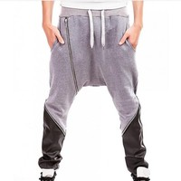 New Arrival Mens Pants Martial Arts Zipper Design Kung Fu Pants For Male Hakama Kendo Wu Shu Sports Trousers For Men Deep Gray