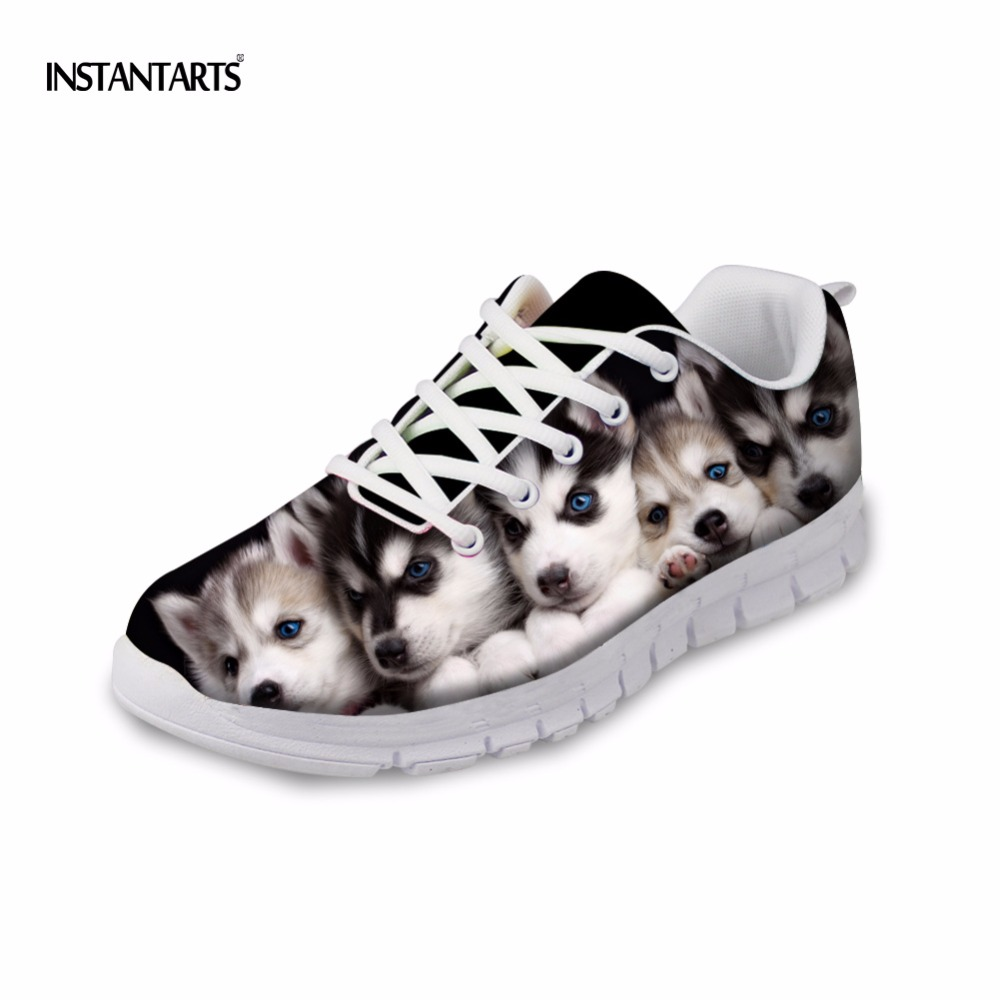 INSTANTARTS Siberian Husky Women Sneakers Casual Lace Up Flats Shoes Cute Animal Dog Design Spring Student Girls Tenis FemininoINSTANTARTS Siberian Husky Women Sneakers Casual Lace Up Flats Shoes Cute Animal Dog Design Spring Student Girls Tenis Feminino