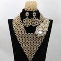 Oro Superior Indio Nupcial Perlas Joyería Set Hecho A Mano WA799 Nigeriano Boda Collar Llamativo Babero Fijó 2017 El Envío Libre