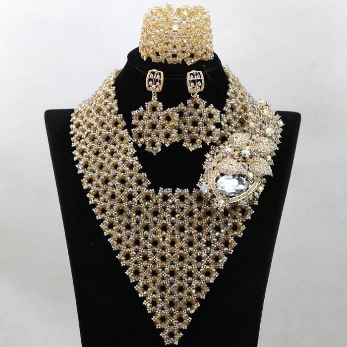 Supérieure Or Indien De Mariée Perles Bijoux Mis La Main Nigérian Mariage Bib Déclaration Collier Ensemble 2017 Livraison Gratuite WA799