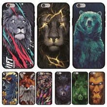 Cool Animals Case on for Funda iPhone X Etui for iPhone XS Max 11 8 7 6 6S Plus 5S XR Soft TPU Cover Lion Bear Owl Wolf Case Men