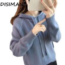 купить!  DISIMAN Свитера Толстовка с капюшоном вязаная толстовка женская 2019 Мода сплошной цвет балахон топы Лучш