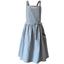קצר נורדי רוח קפלים חצאית כותנה פשתן סינר קפה פרח חנויות לעבוד סינרי ניקוי לאישה כביסה Daidle