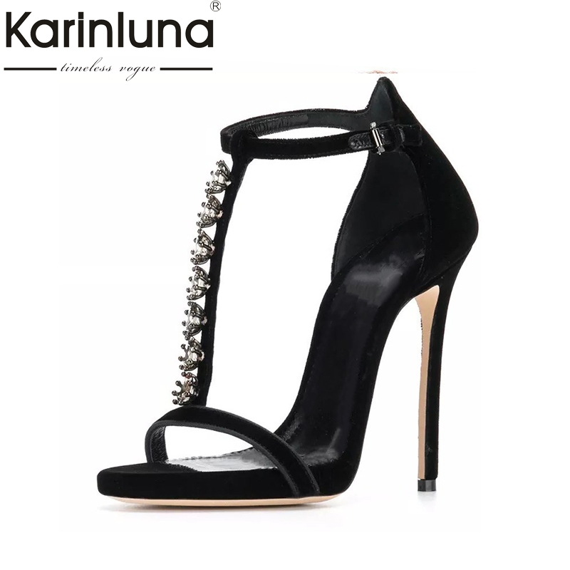 Karinluna New Large Size 33-43 Brand Design Crystals Summer Woman Shoes Sandals Sexy Thin High Heels Party Shoes Women karinluna 2018 large size 31 43 fashion ruffles women shoes sandals fashion wedges high heels party summer shoes woman
