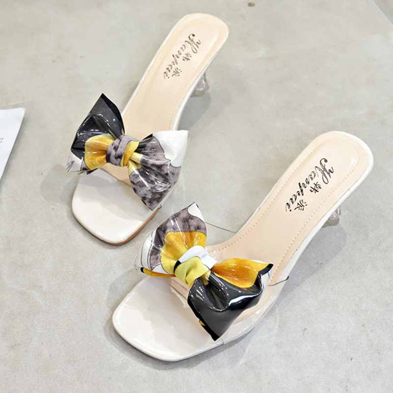 Colorful Bow-knot Sandals Ladies High Heels Sandals Women Fashion Transparent Slippers Women Shoes Summer 2019 Clear Sandals