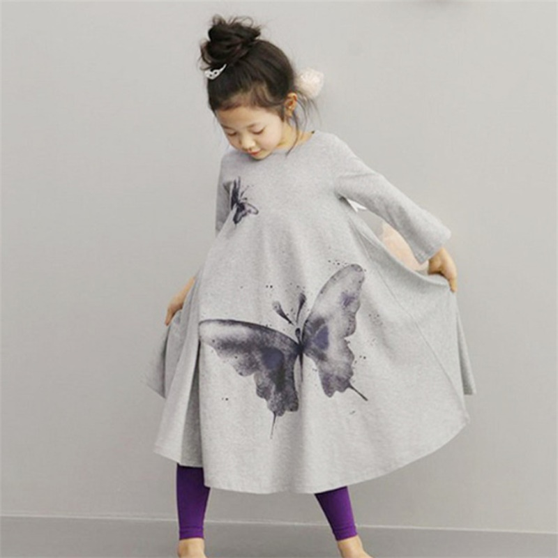 suton Baby Girls Clothes Big Butterfly Print Dress 2-7Y Hot Sale New 2018 Kids Beach Dresses for Girls Toddle Lolita Style Dress