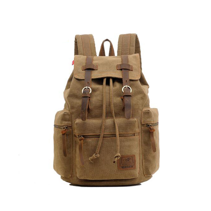 2019 New Men Women Vintage Army Canvas Backpack Hasp Solid Color Rucksack School Bag Satchel Large Capacity Travel Hiking Bags