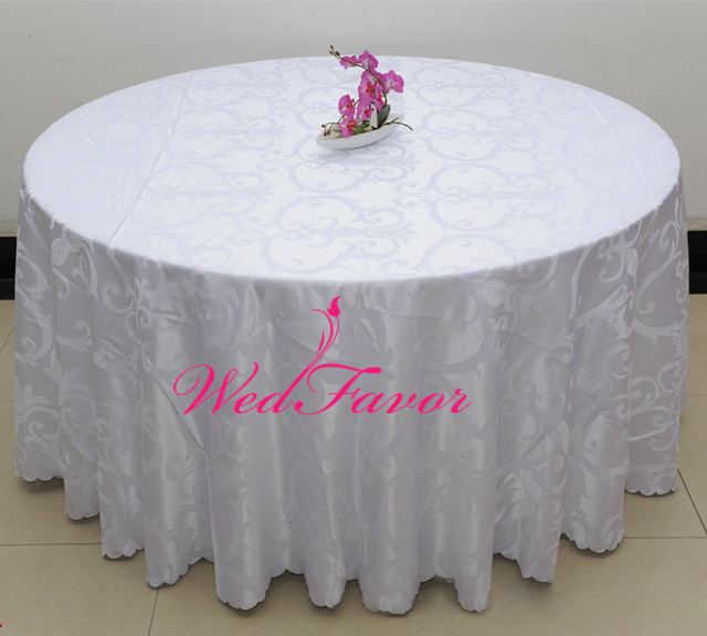 AliExpress & US $179.0 |10pcs Luxury White Round Polyester Jacquard Damask Table Cloths Banquet Wedding Table Covers For Home Event Hotel Decoration-in Tablecloths ...