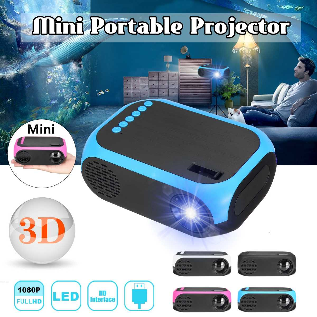 Mini Projector 1080p HD USB TF Support 3D MP4 Portable Cinema Projector Home Theatre System Movie Projector
