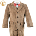 Nimble Boys Formal Suit  New Brown Corduroy England Style Three Pieces Suit Kids Wedding Party Cloth