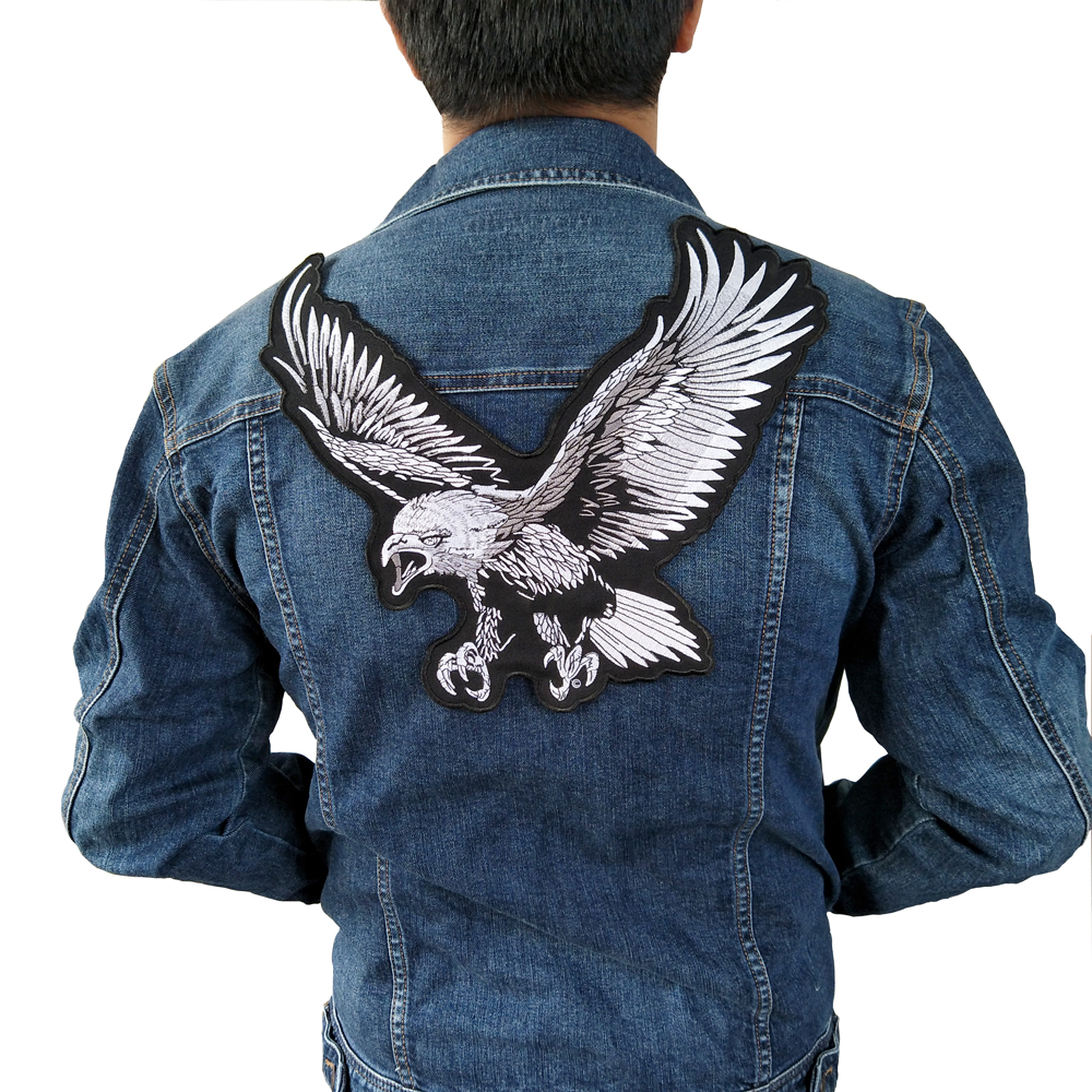 Big eagle Embroidery lace applique paillette fabric sweater clothes patch sequined stickers t-shirt diy decoration ...