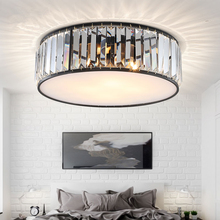 TRAZOS LED Ceiling Lights with K9 crystal Modern Round Lamp hardware Bedroom Luminaire Black Dining Lighting Fixture